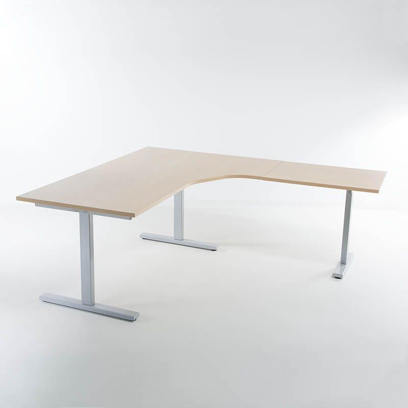 KAMPANJE Hev senk skrivebord sølv 3 søyler, bøk bordplater 180/80x200/60-0
