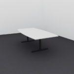 260cm grått møtebord med sort t-fot understell