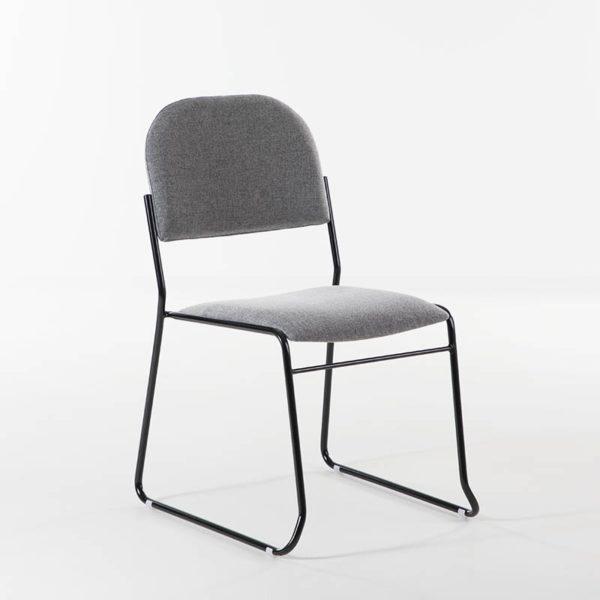 Vesta Konferansestol grått stoff, sort, hvitt, crom understell-0