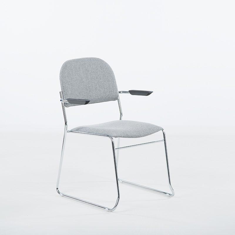 Vesta Konferansestol grått stoff med armlener-0