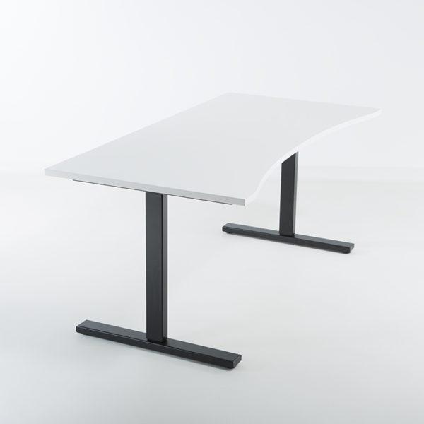 Hev senk skrivebord sort, hvit bordplate 160x80 med magebue-0