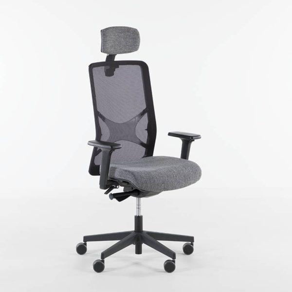 Wind kontorstol med hodehviler, grått stoff, sort understell-0